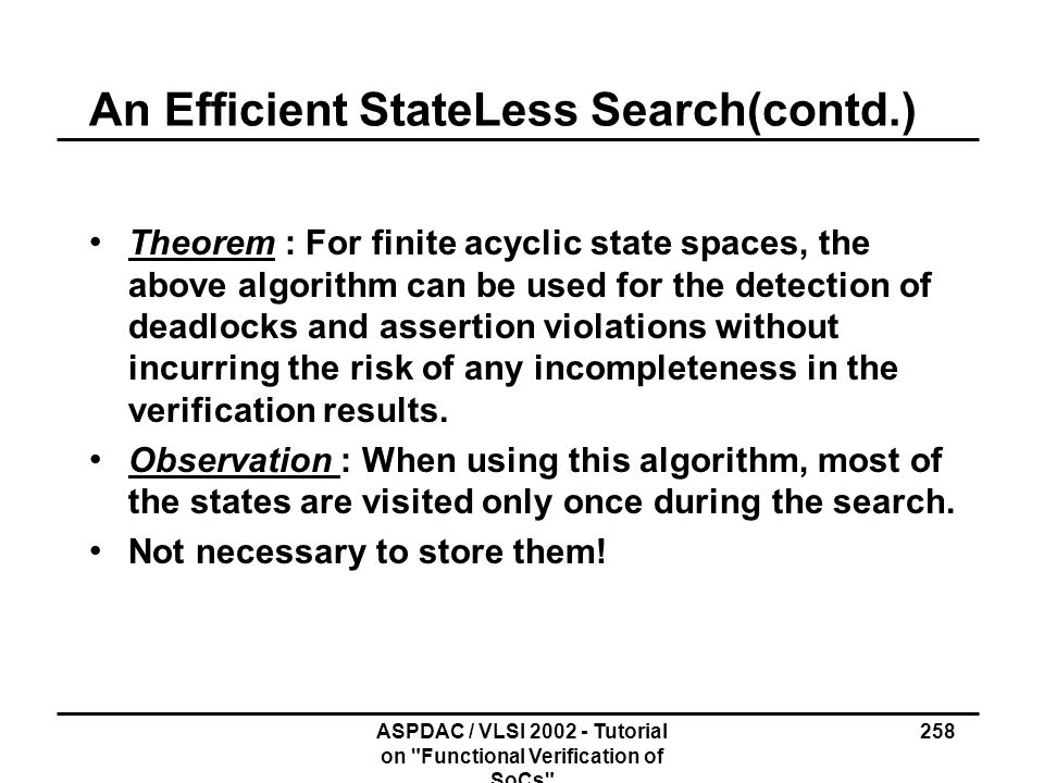 An Efficient State­Less Search(contd.)