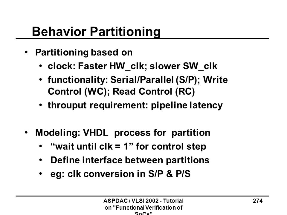 Behavior Partitioning