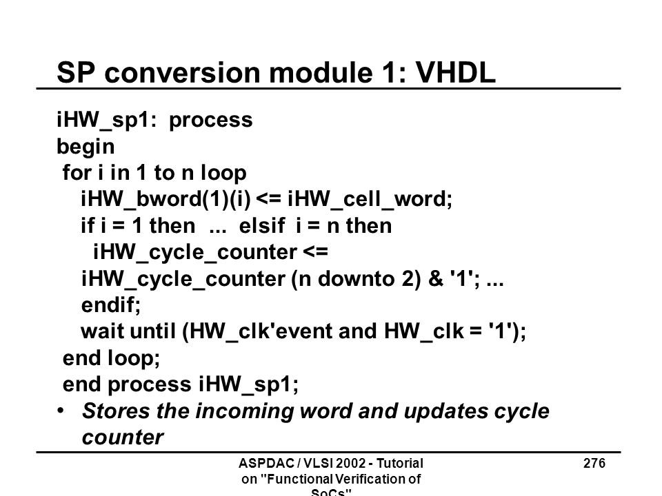 SP conversion module 1: VHDL