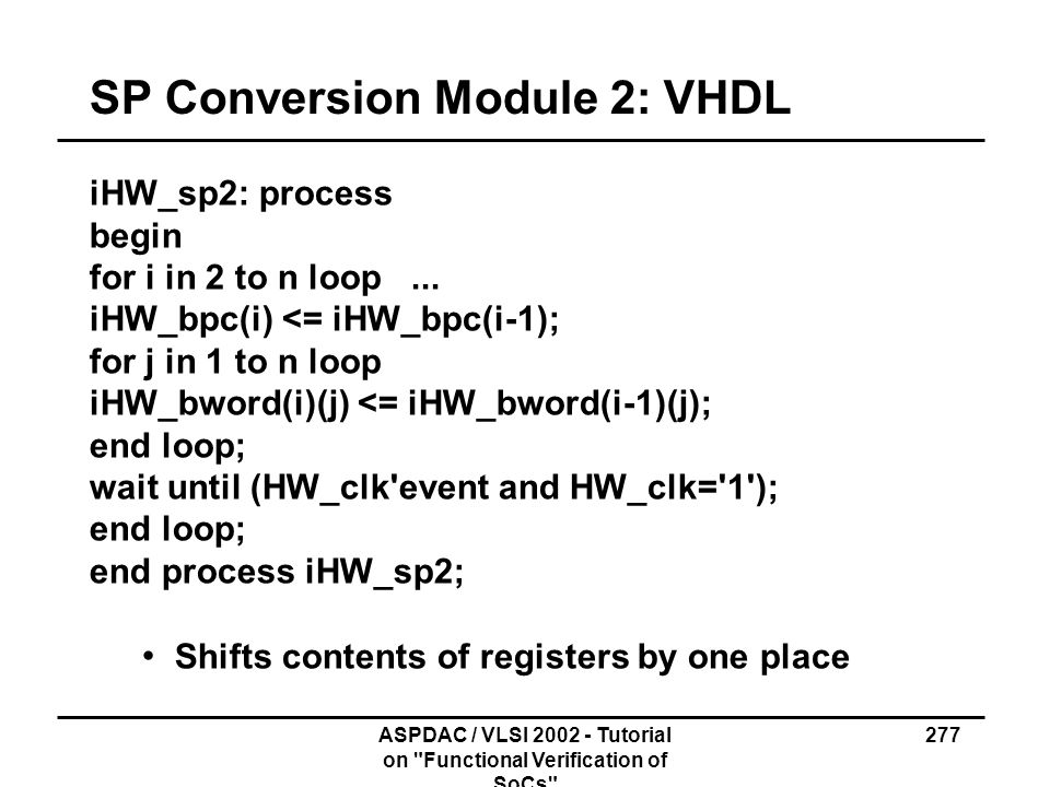 SP Conversion Module 2: VHDL