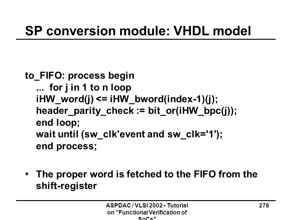 SP conversion module: VHDL model