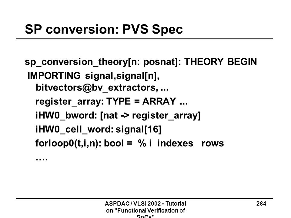 SP conversion: PVS Spec