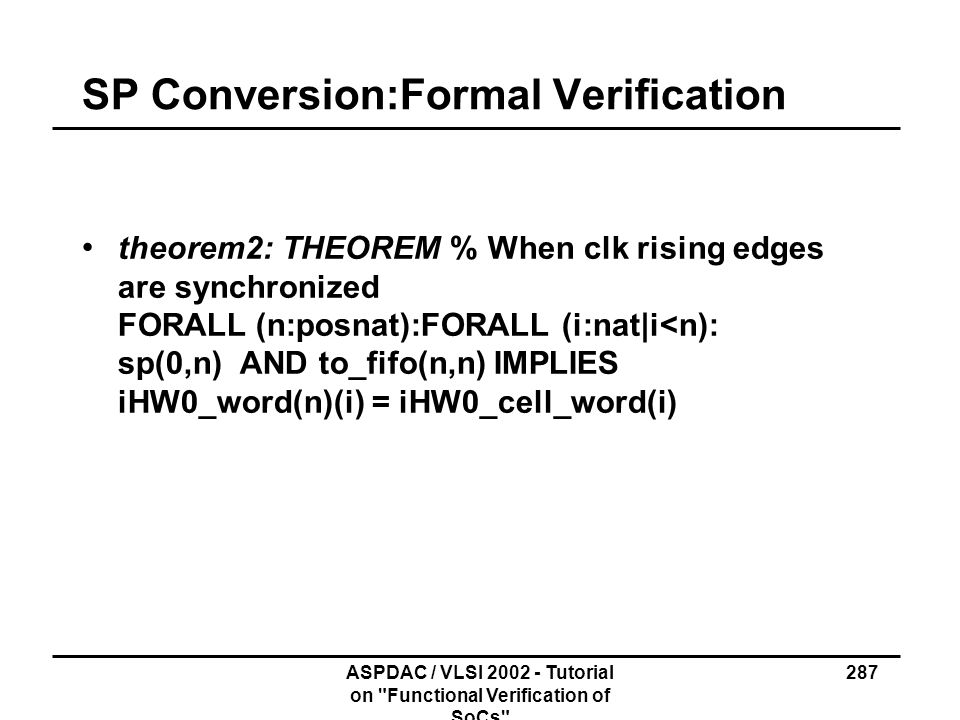 SP Conversion:Formal Verification