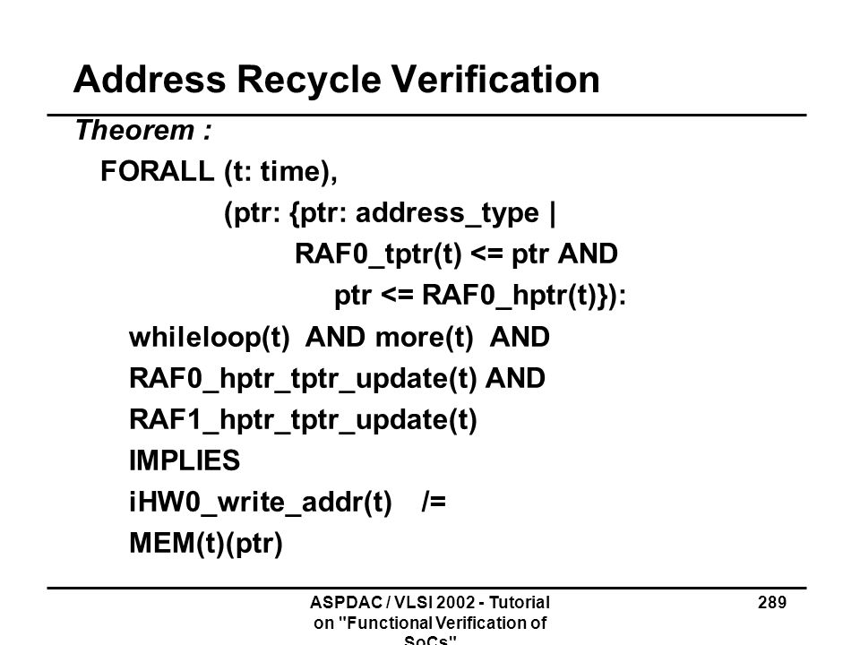 Address Recycle Verification