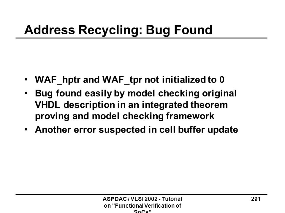 Address Recycling: Bug Found