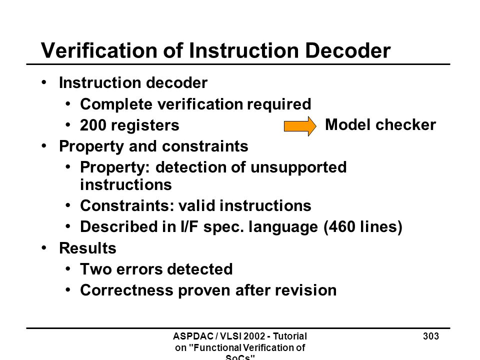 Verification of Instruction Decoder