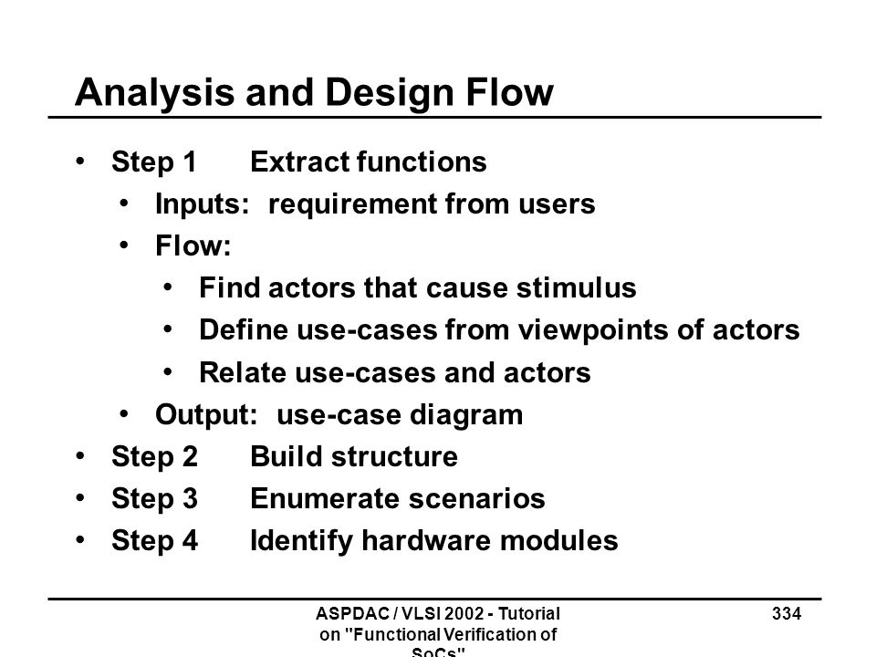 Analysis and Design Flow