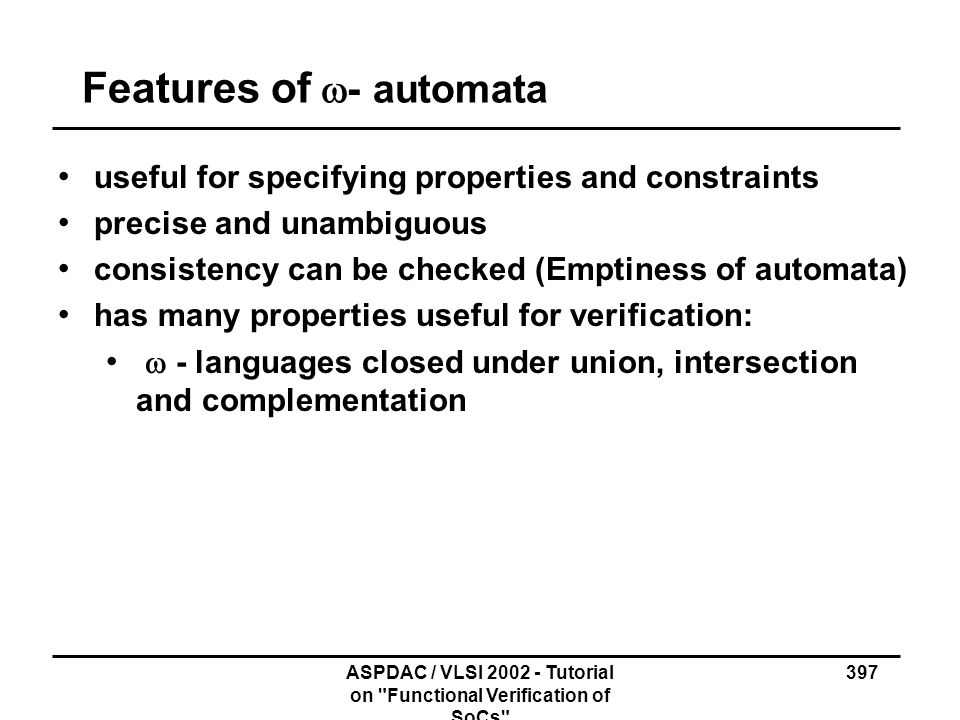 Features of w- automata