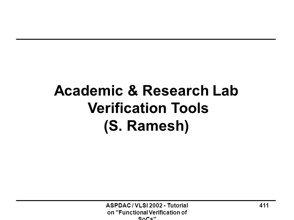 Academic & Research Lab Verification Tools (S. Ramesh)