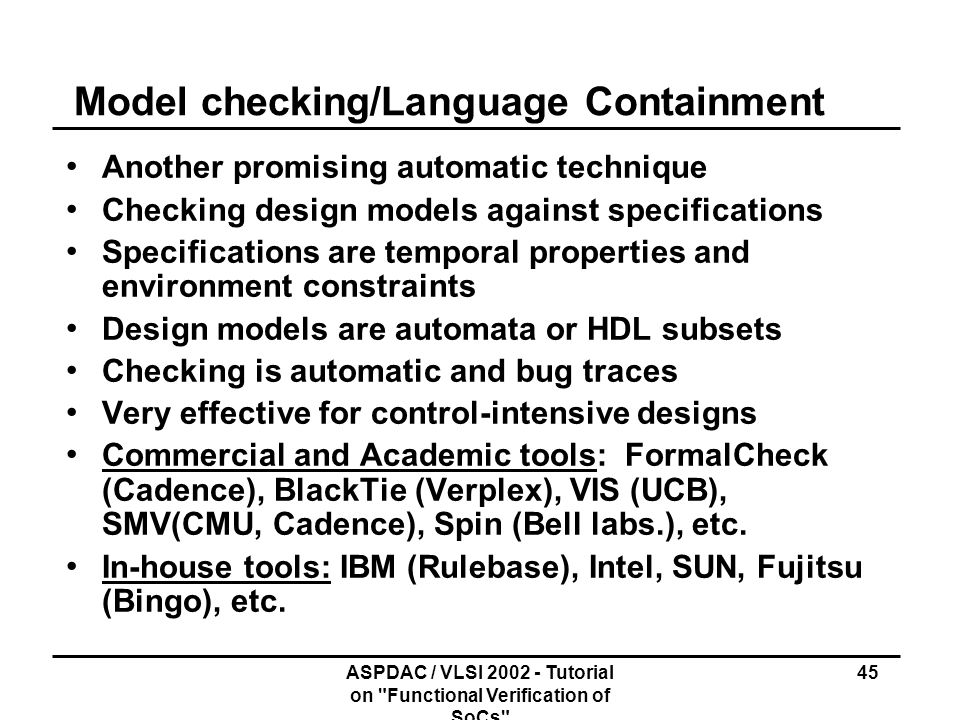 Model checking/Language Containment