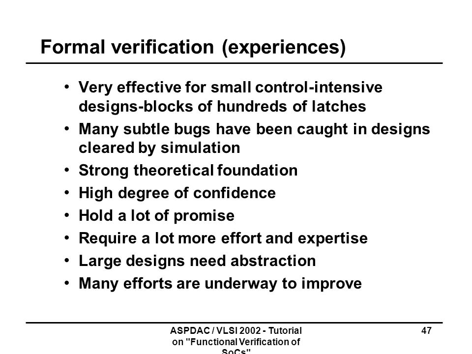 Formal verification (experiences)