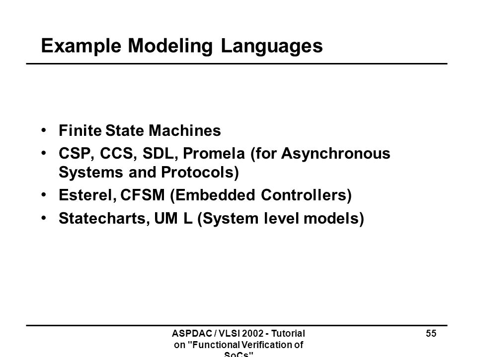 Example Modeling Languages