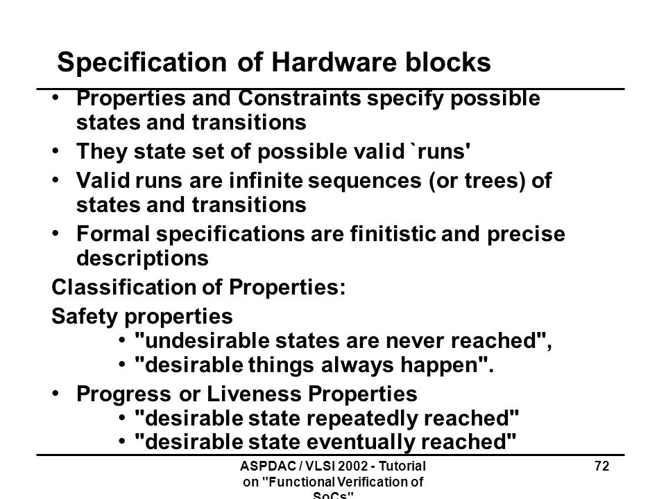Specification of Hardware blocks