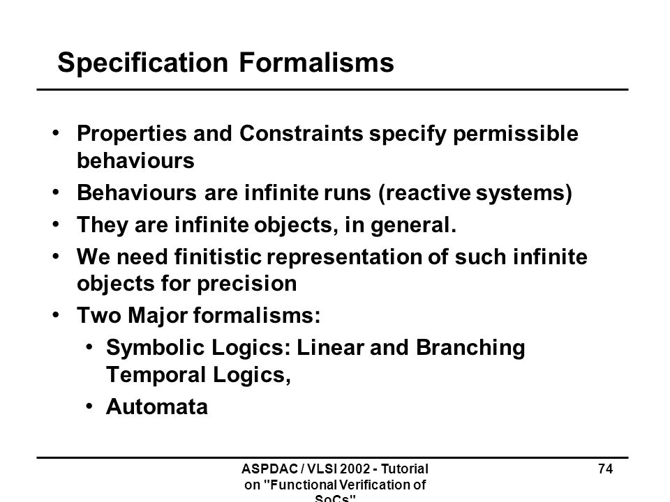 Specification Formalisms