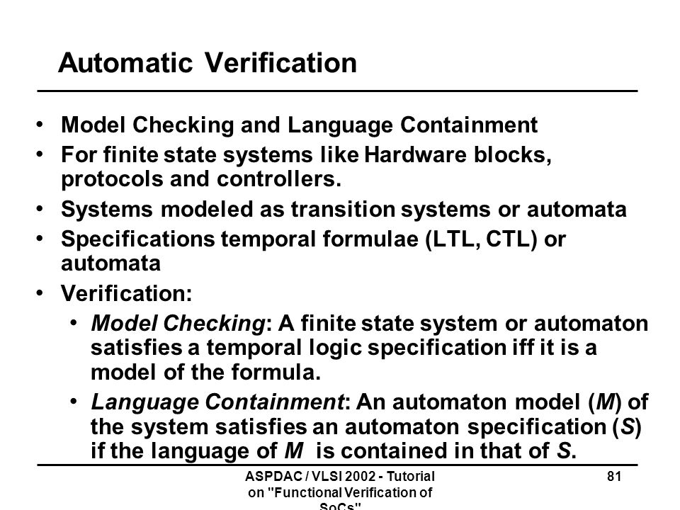 Automatic Verification