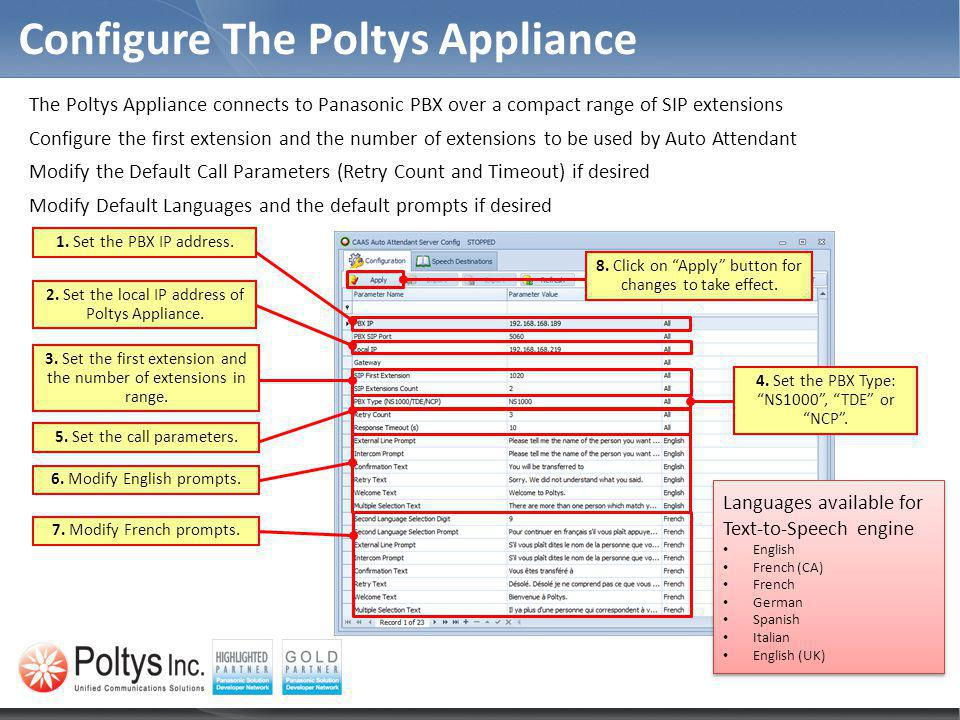 Configure The Poltys Appliance