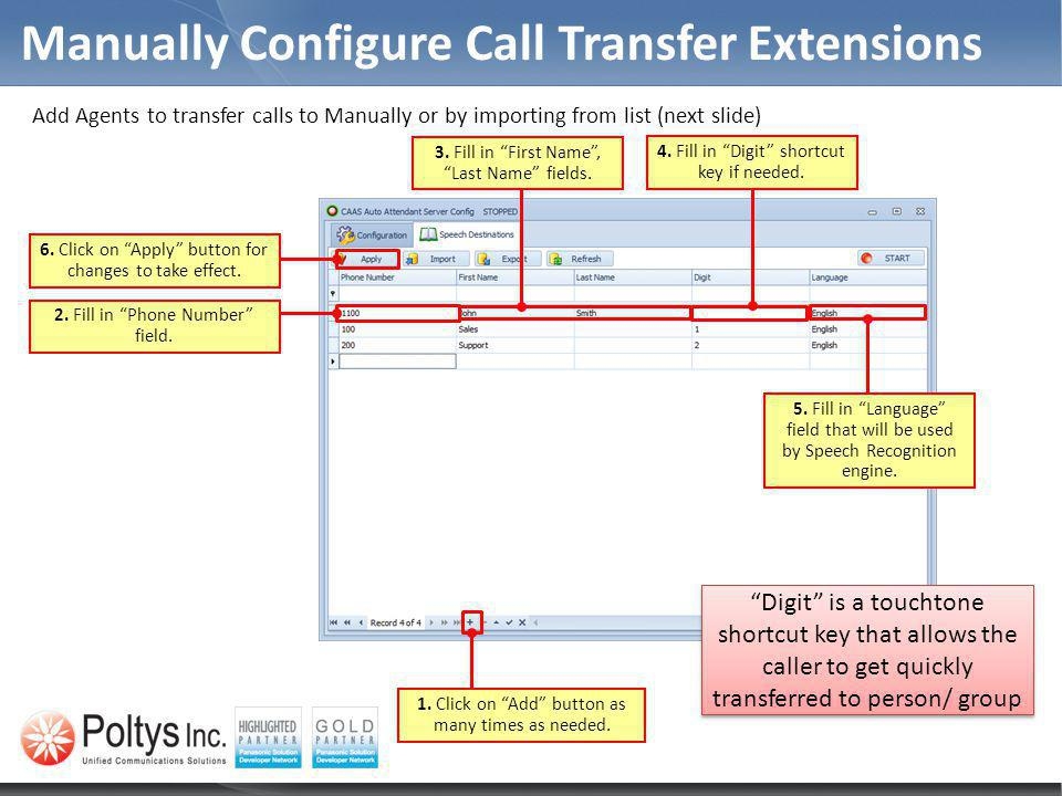 Manually Configure Call Transfer Extensions