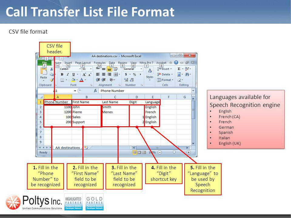 Call Transfer List File Format