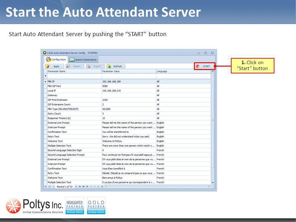 Start the Auto Attendant Server