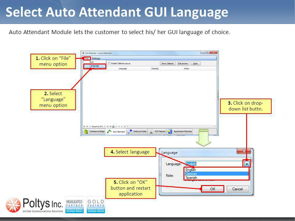 Select Auto Attendant GUI Language