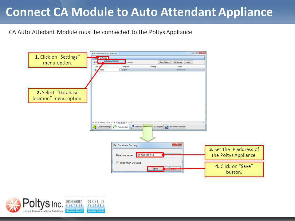 Connect CA Module to Auto Attendant Appliance