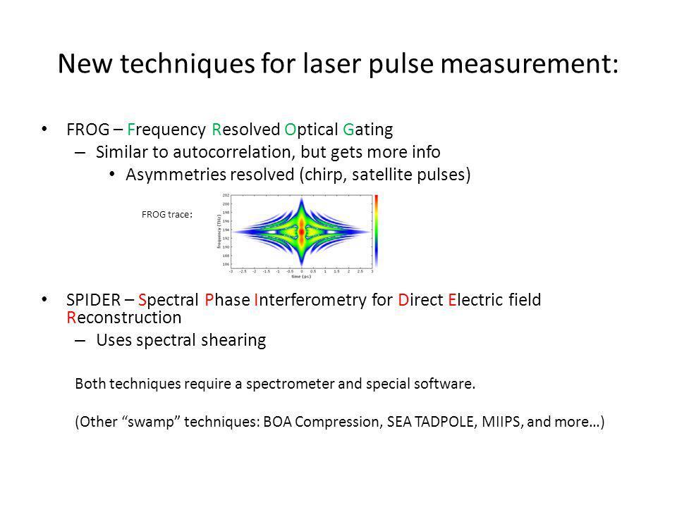 New techniques for laser pulse measurement: