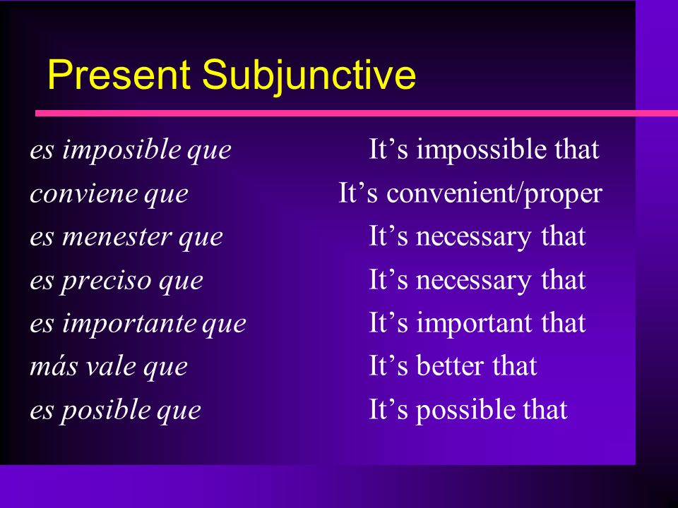 Present Subjunctive es imposible que It's impossible that
