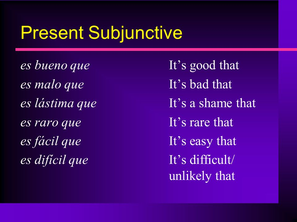 Present Subjunctive es bueno que It's good that