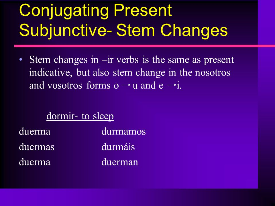 Conjugating Present Subjunctive- Stem Changes