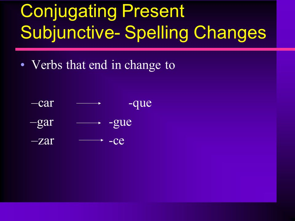 Conjugating Present Subjunctive- Spelling Changes