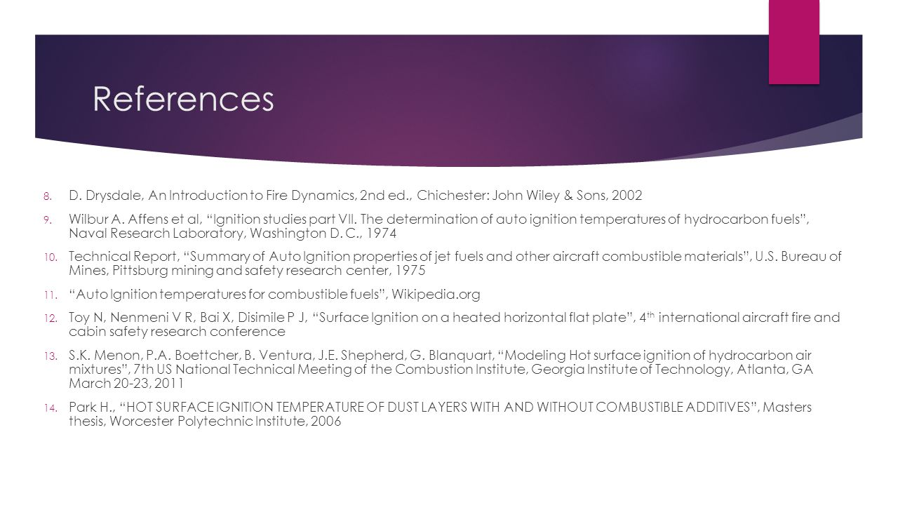 References D. Drysdale, An Introduction to Fire Dynamics, 2nd ed., Chichester: John Wiley & Sons, 2002.