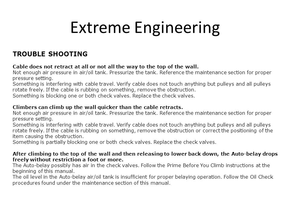 Extreme Engineering TROUBLE SHOOTING