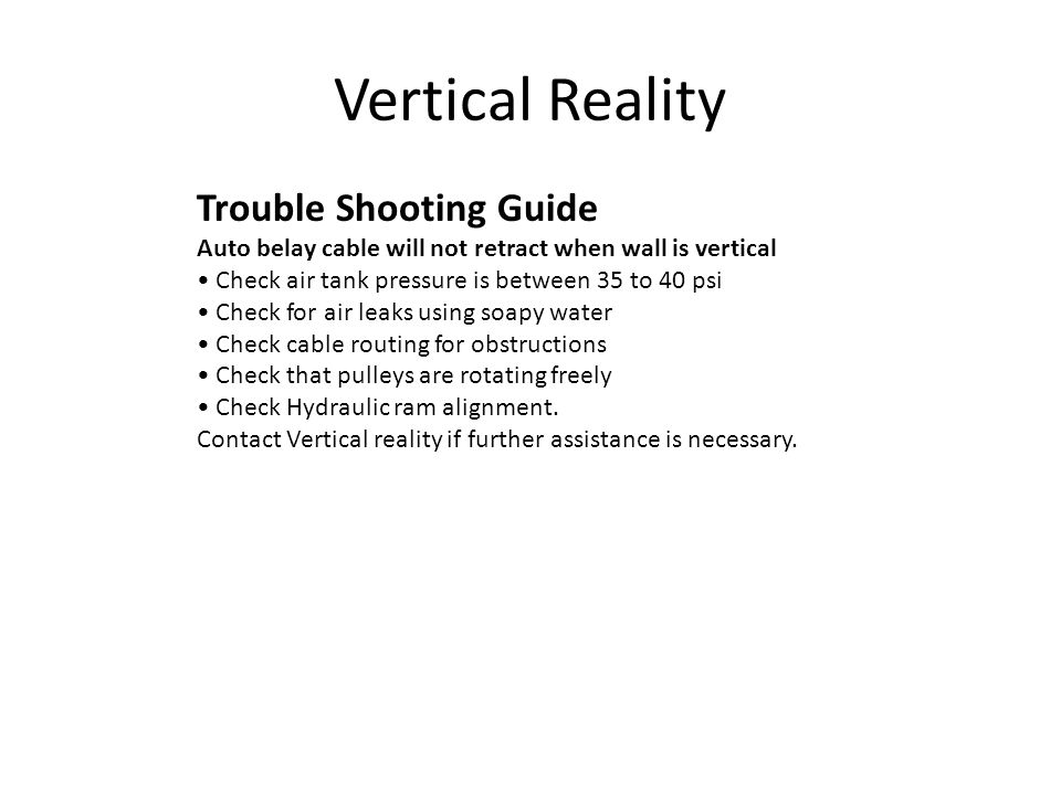 Vertical Reality Trouble Shooting Guide
