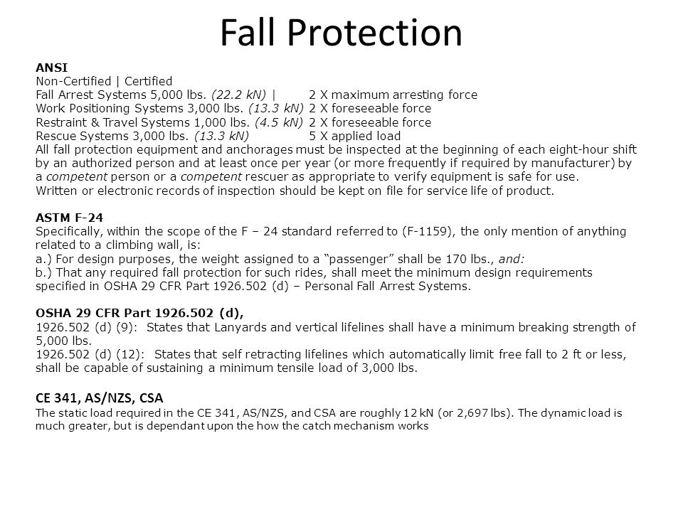 Fall Protection CE 341, AS/NZS, CSA ANSI Non-Certified | Certified