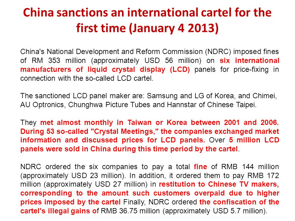 China sanctions an international cartel for the first time (January 4 2013)