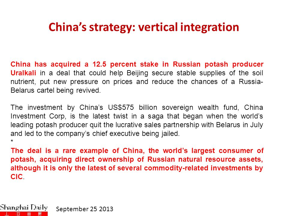 China's strategy: vertical integration