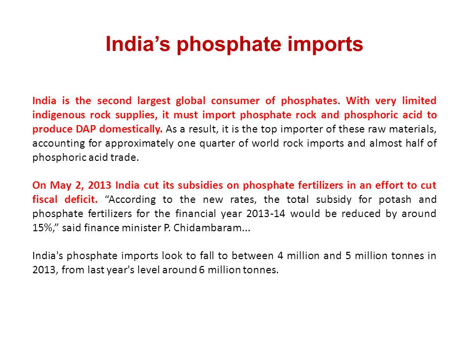 India's phosphate imports