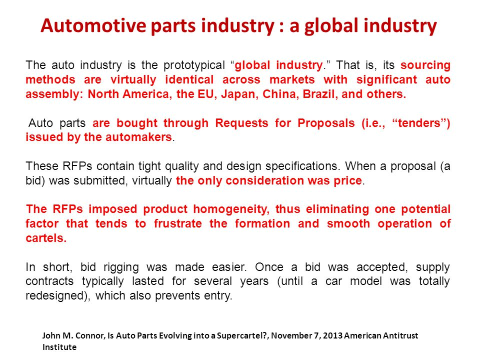 Automotive parts industry : a global industry