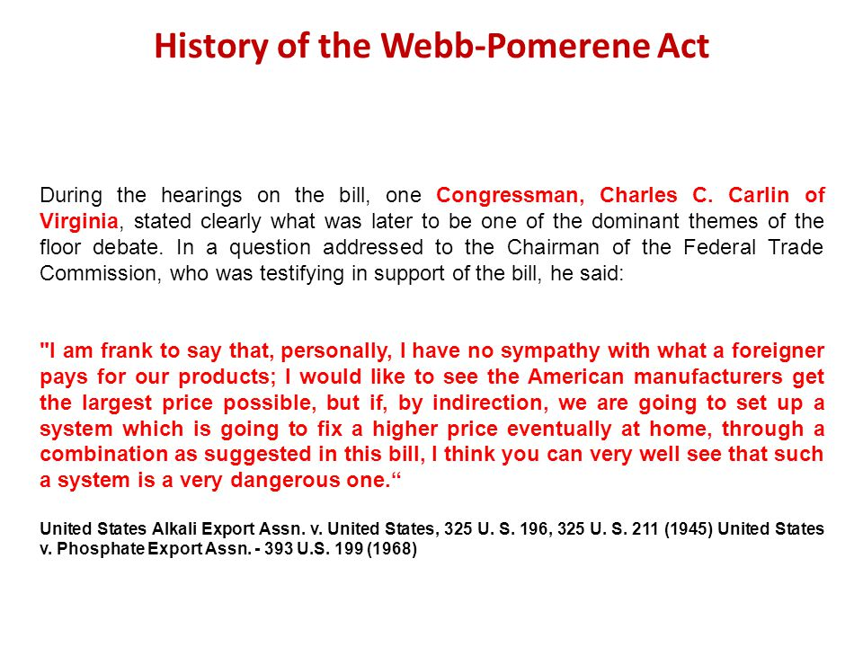 History of the Webb-Pomerene Act