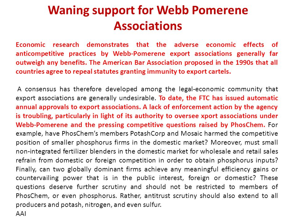 Waning support for Webb Pomerene Associations