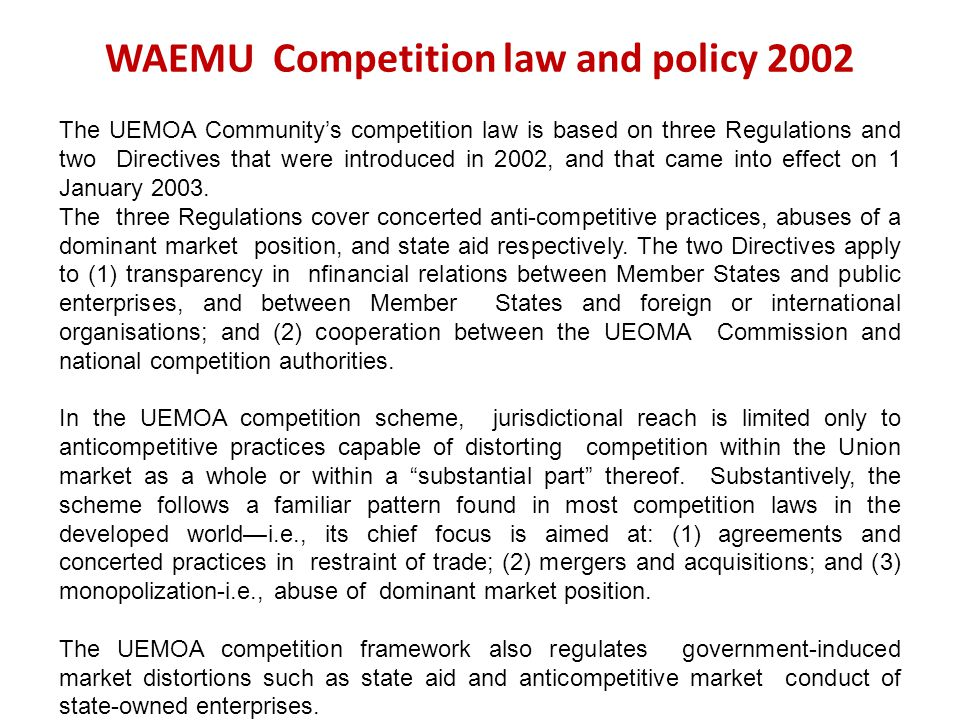 WAEMU Competition law and policy 2002