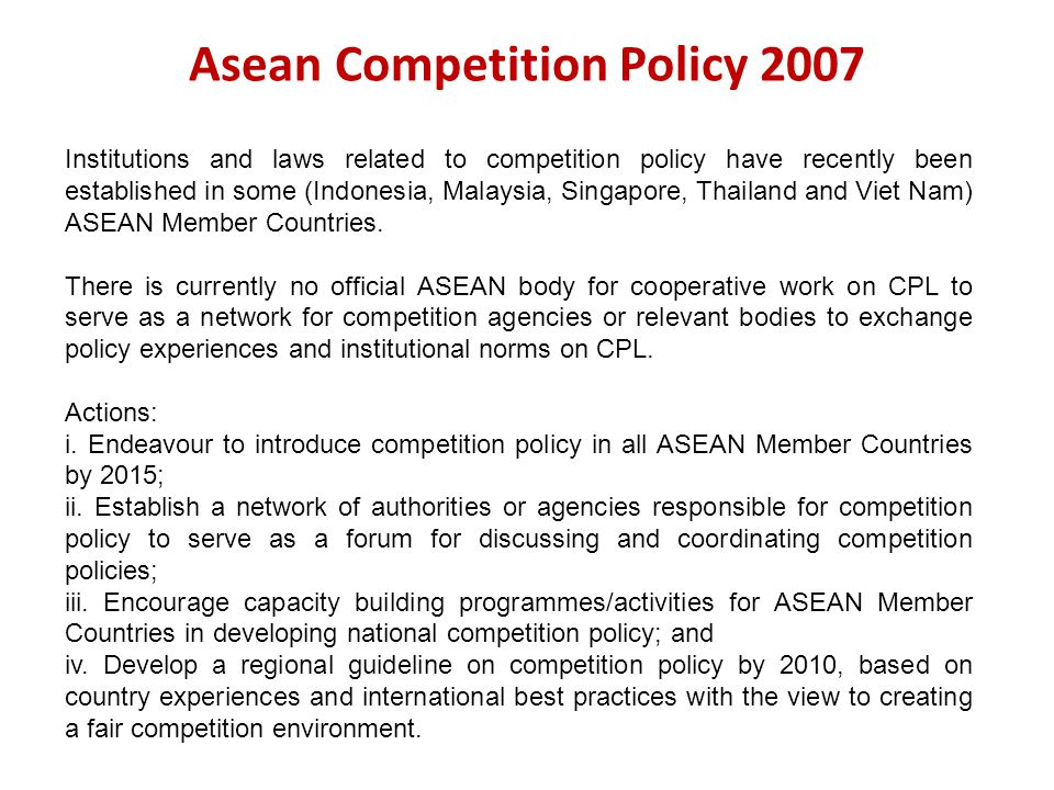 Asean Competition Policy 2007