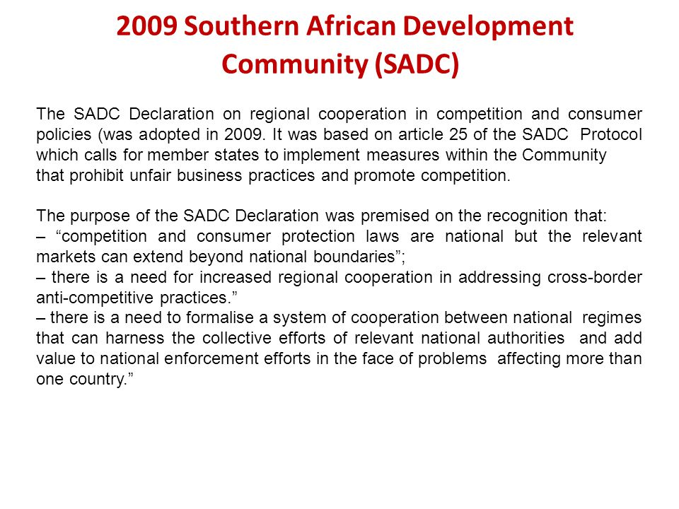 2009+Southern+African+Development+Community+%28SADC%29 international discipline on trade and competition an update ppt  at n-0.co