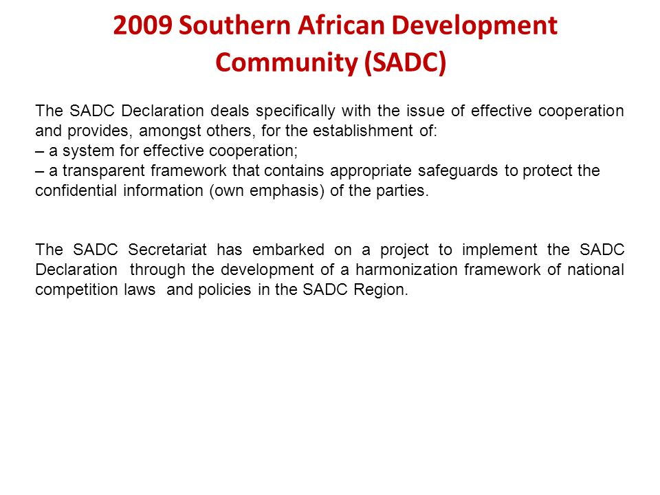 2009 Southern African Development Community (SADC)