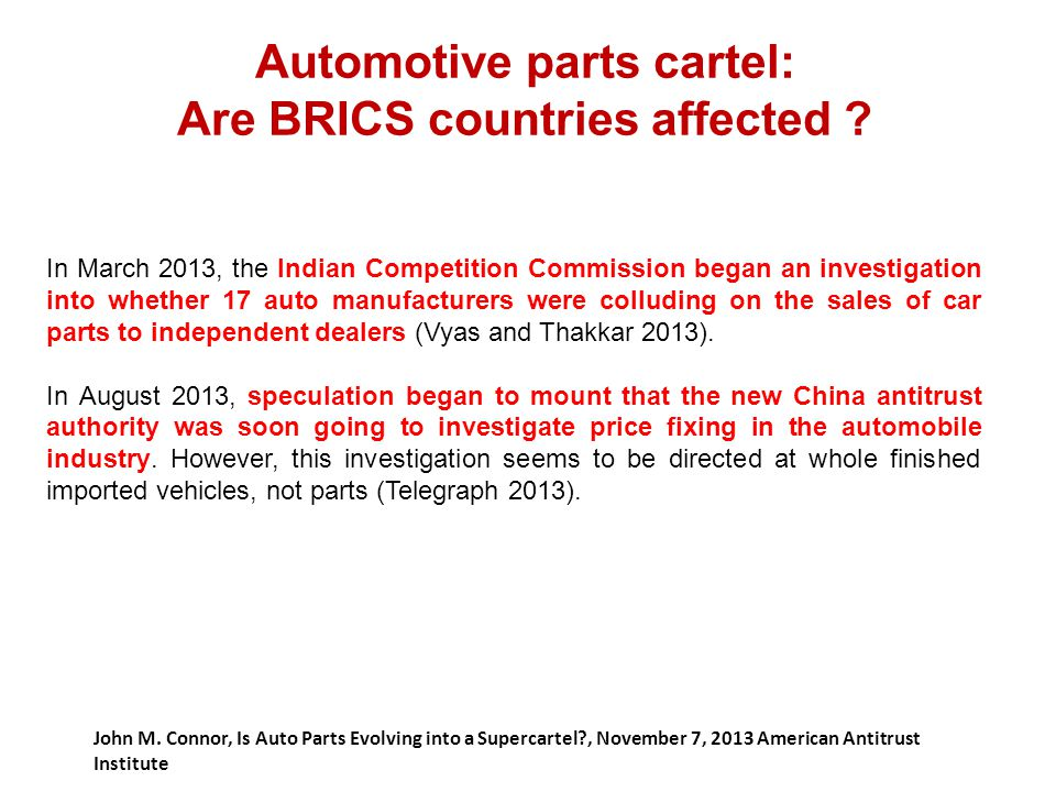 Automotive parts cartel: Are BRICS countries affected
