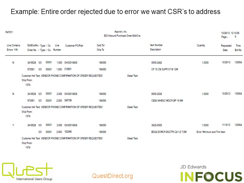 Example: Entire order rejected due to error we want CSR's to address