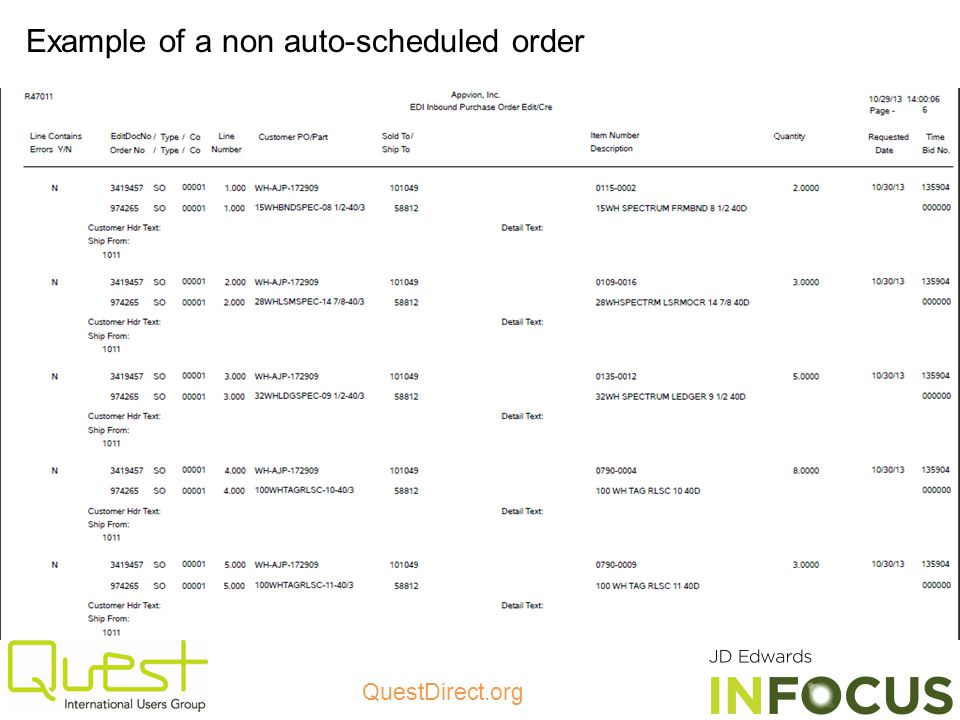 Example of a non auto-scheduled order