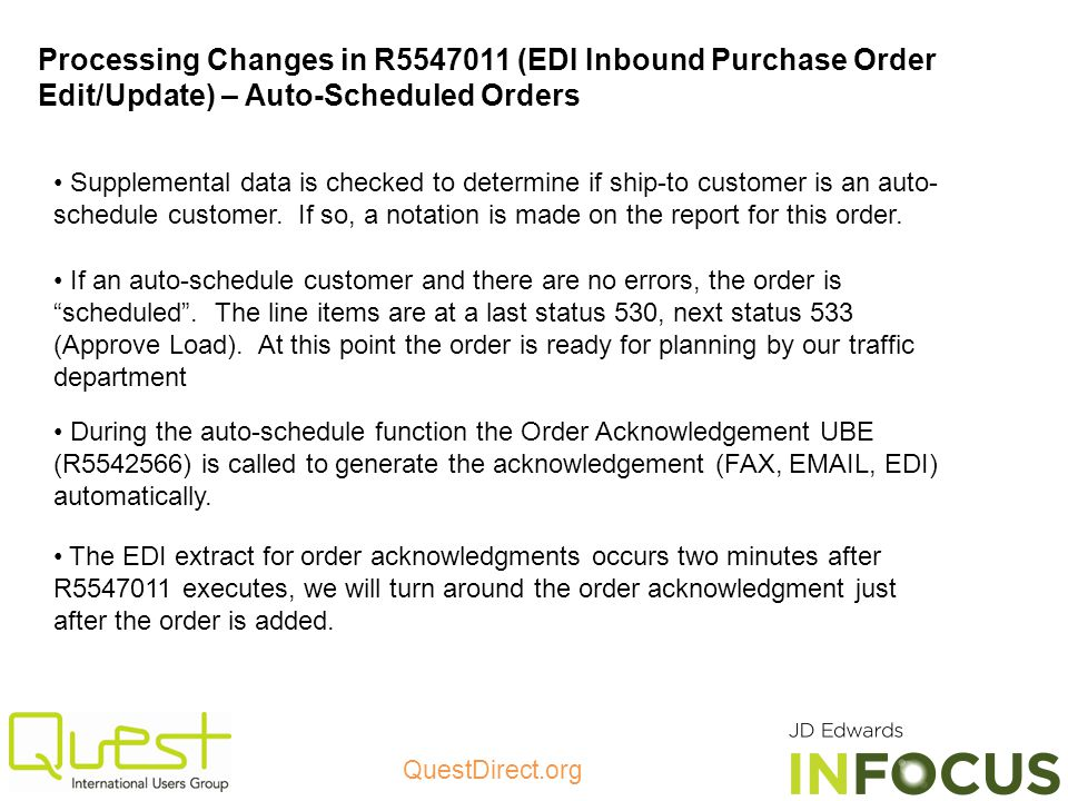 Processing Changes in R5547011 (EDI Inbound Purchase Order Edit/Update) – Auto-Scheduled Orders