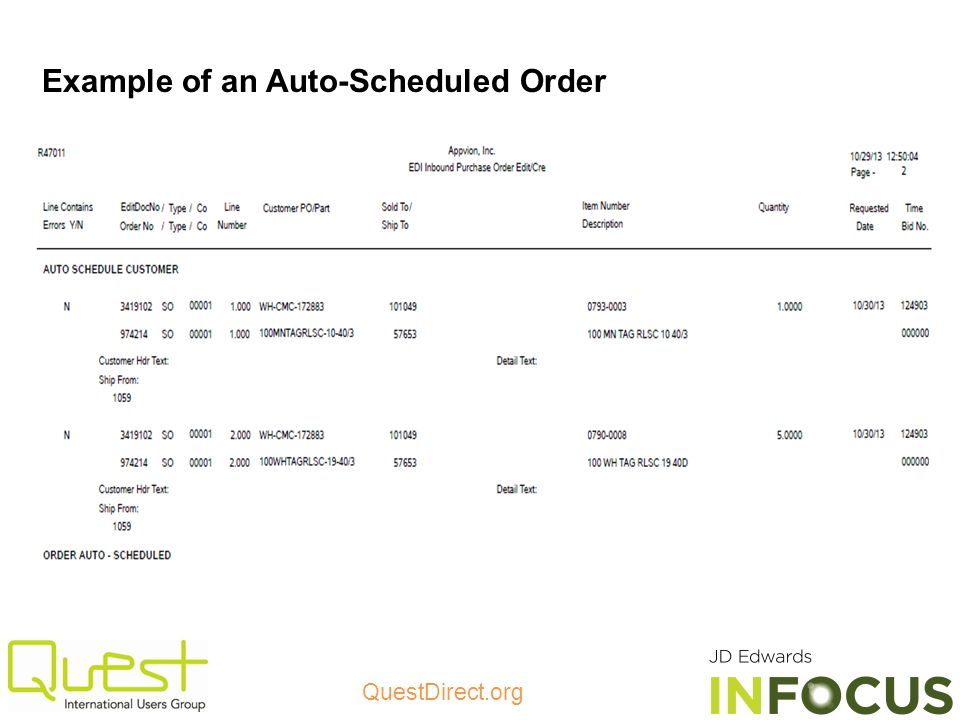 Example of an Auto-Scheduled Order
