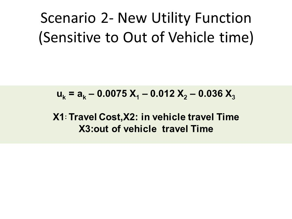 Scenario 2- New Utility Function (Sensitive to Out of Vehicle time)